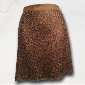 Gold / Brown Sequin Skirt With Elastic Waist